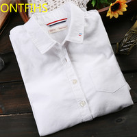 New Style Lady White Shirts Formal Work Blouse Size S XL Women Pure Color Shirts Slim