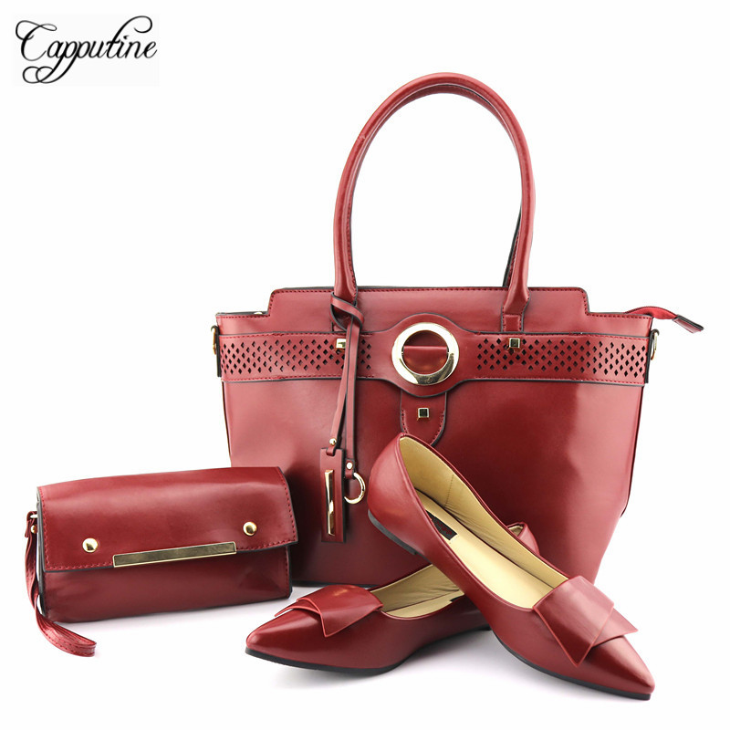 Capputine 2018 Nigerian PU Leather Woman Shoes And Shopping Bag African Style Low Heels Shoes An Handbag Set For Party TX-208