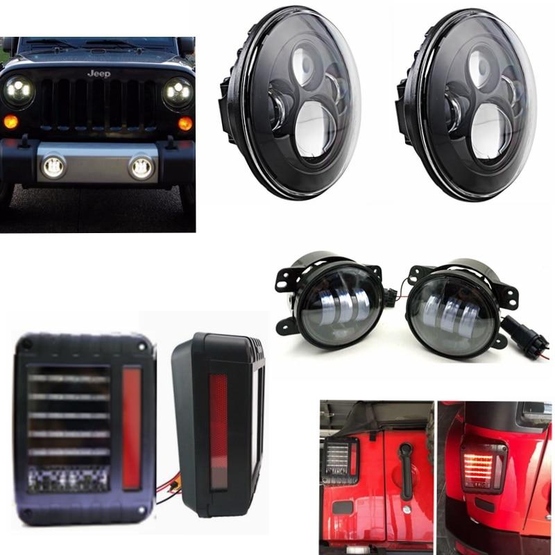 2pcs 7 Inch Led headlight + 2pcs 4 Inch Led Fog Light + 2 pcs LED Tail Lights For Jeep Wrangler 2007-2015