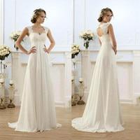2017 fashion Modest Wedding Dresses 2017 off the shoulder Lace tired White sleeveless court train Wedding beach chiffon