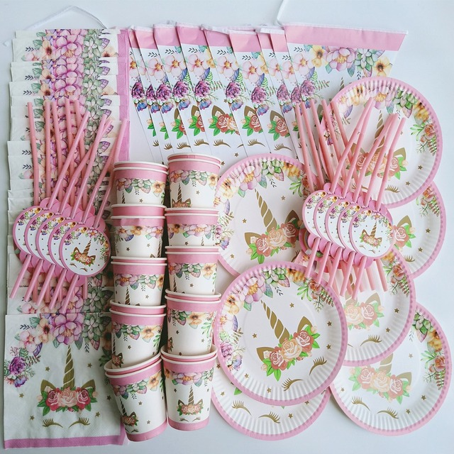 81 pcs 20 pessoa feliz aniversário crianças Unicórnio decoração do partido do chuveiro do bebé set bandeira toalha de mesa copo placas palhas fornecedor