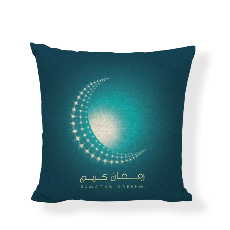 Ramadan Cushion Cover Islamic Features Linen Material 45*45 cm Muslim Home Bedroom Sofa Chair Bed Decoration Throw Pillowcase