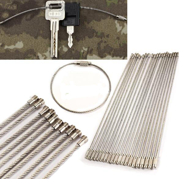 Tegoni 5Pcs EDC Stainless steel wire keychain ring key keyring circle rope cable loop