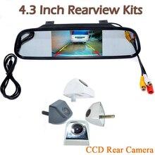 цена на 4.3 Car TFT LCD Monitor Mirror parking & HD CCD Reverse Backup night vision car rear view camera Kit For all car waterproof
