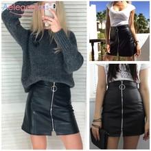 Aelegantmis Spring Summer Casual PU Leather Skirt Women Elegant Zipper Mini A-Line Skirt Lady Skinny High Waist Skirts Black