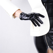 Fashion Patent Leather Gloves Medium And Long Section Emulation 28cm Bright Black PU Female Basic P13