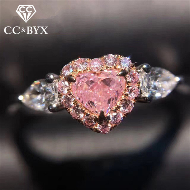Cc Wedding Rings For Women S925 Silver Beautiful Pink Heart Shaped