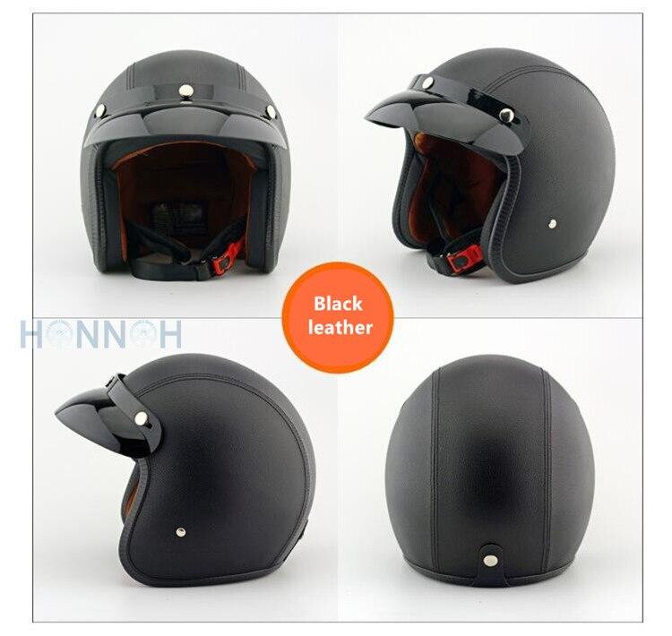 Casque de moto support en cuir ABS rétro moto hommes femmes vélo sport café racer casque Motocross Motos casques Capacete