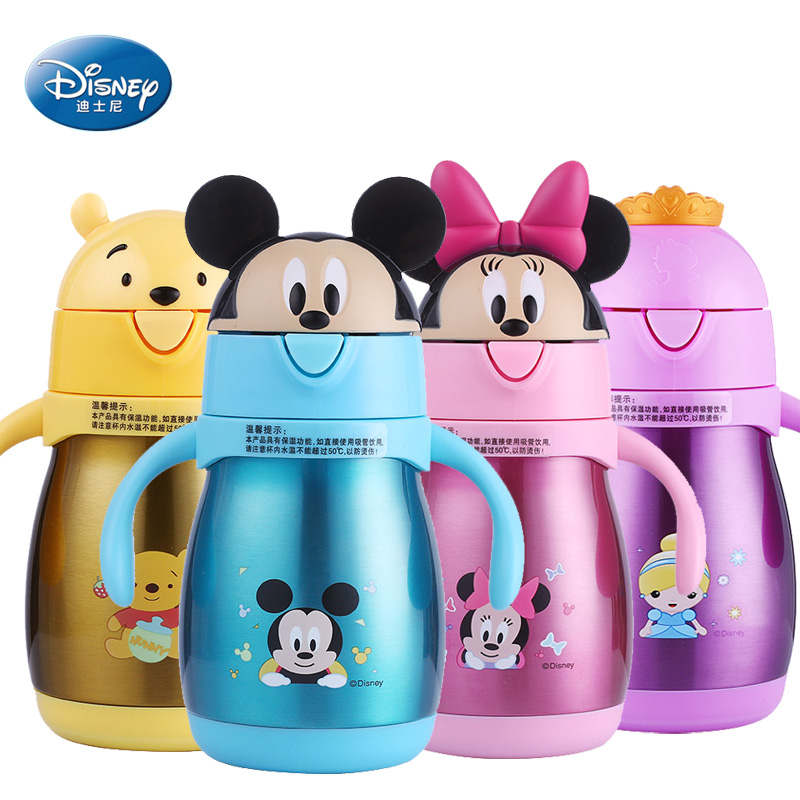 Baby cup with handle feeding with straw kids thermos water bottle stainless steel vacuum cup 240ML cute mickey minnie bebe copos 240ml baby drinking water bottle cups with straw portable feeding bottle cartoon water feeding cup with the handle for baby hot