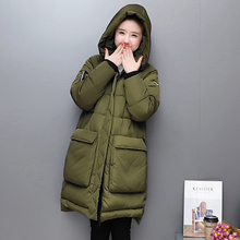 Women Long Winter Coats And Jackets 2017 Fashion New Loose Full Sleeve Hooded Thickened Long Coat Jeans Parka Female