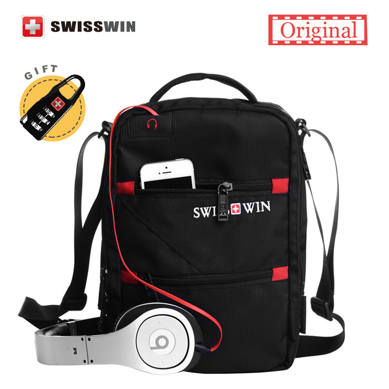 Swisswin Fashion Messenger Shoulder Bag Men Mini Black Crossbody Bag For Ipad Casual Oxford Messenger Satchel Music Bag Women swisswin fashion brand men shoulder bag small black messenger daily phone bag quality waterproof nylon flap zipper crossbody bag