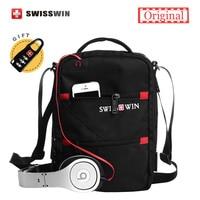 Swisswin Fashion Messenger Shoulder Bag Men Mini Black Crossbody Bag For Ipad Casual Oxford Messenger Satchel Music Bag Women