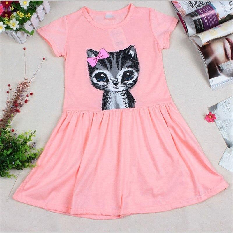 Moda do bebé Kid princesa festa Casual gato impressão de verão vestido de camisa roupas X16