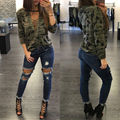 Women Camouflage Shirt 2016 Army Style Long Sleeve Bust Tie up Halter Neck Blouses Camisa Masculina Loose Blouse