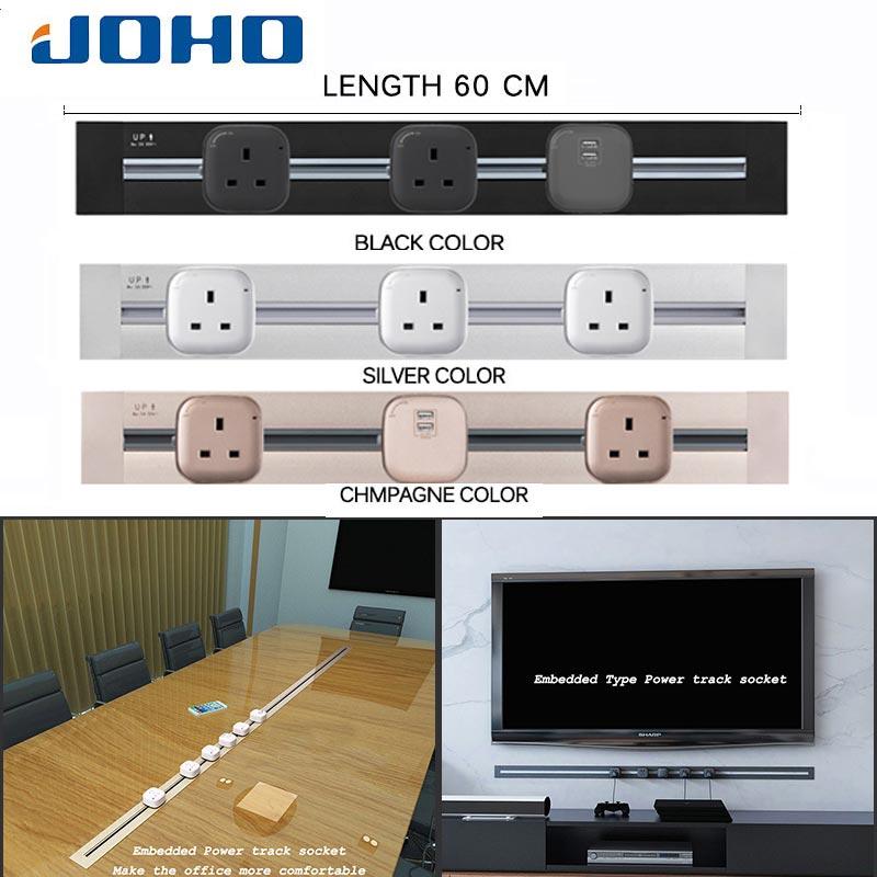 JOHO usine mode prise 60 cm intégré Type Usb prise murale Tomada électrique lumière LED salon salle de réunion