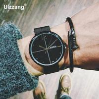 Mode Gold Silber Schwarz Komplett Aus Edelstahl Web Band Quarz Armbanduhren Armbanduhr für Männer Männlichen Frauen