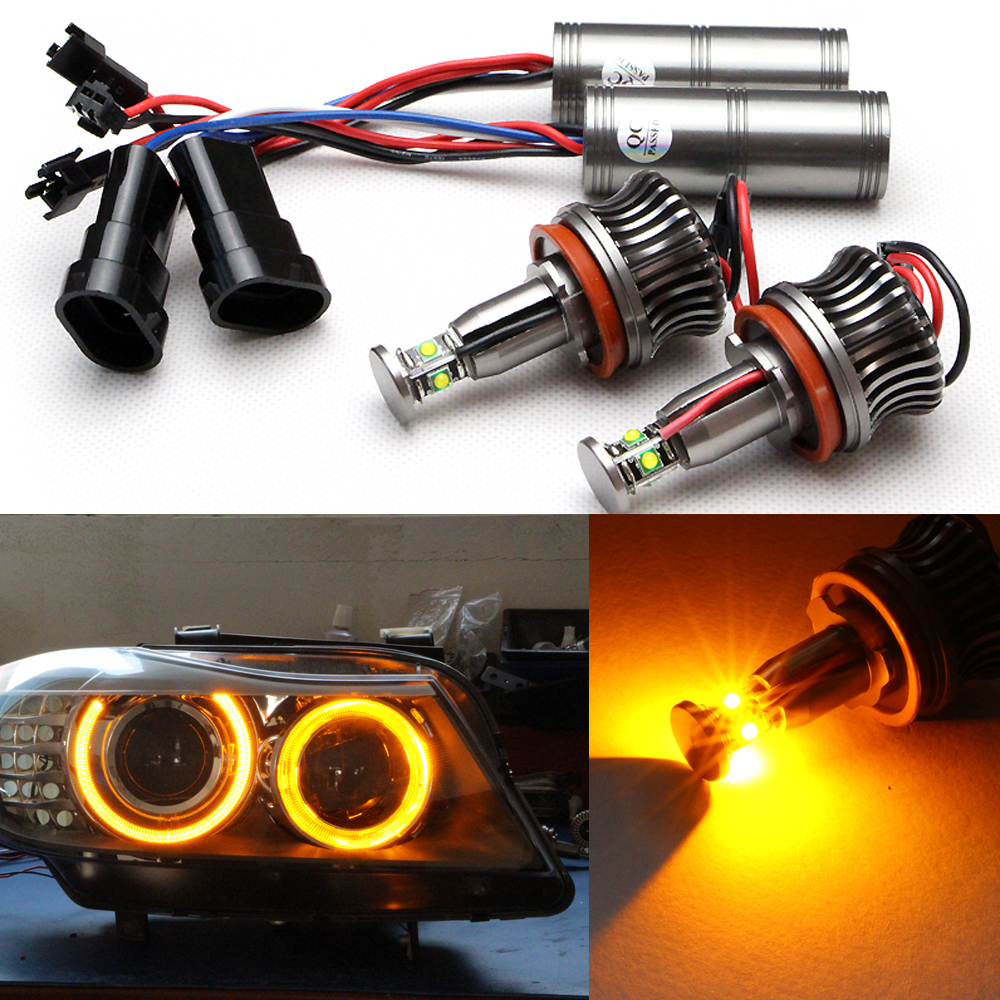 ФОТО 100% canbus design for E92 Angel Eyes 20W CREE chip LED Angel Eyes For E92 H8 20W LED Marker bulbs light 900LM bright