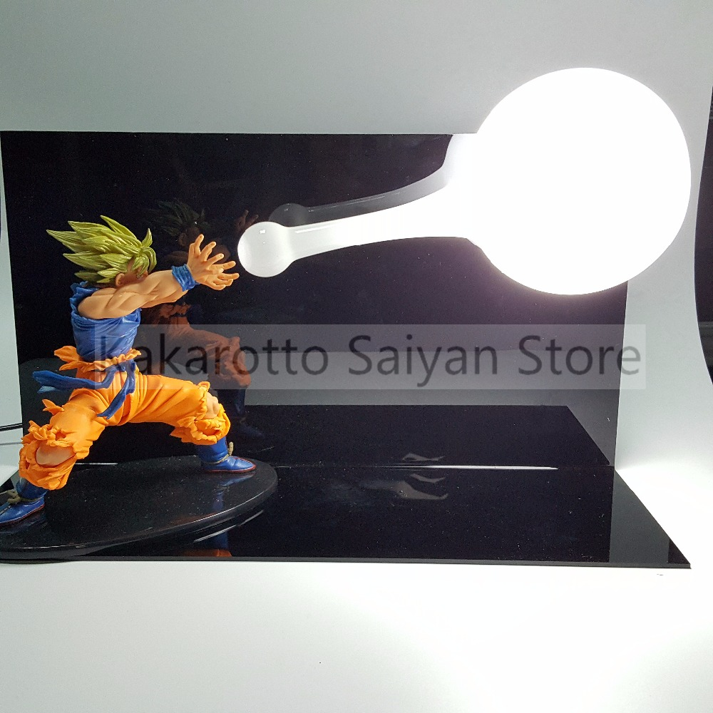 Dragon Ball Z Son Goku Figure Super Saiyan Kamehameha Anime Dragon Ball Z Action Figures Model Toy DBZ +Bulb+Base 16cm anime dragon ball z goku action figure son gokou shfiguarts super saiyan god resurrection f model doll