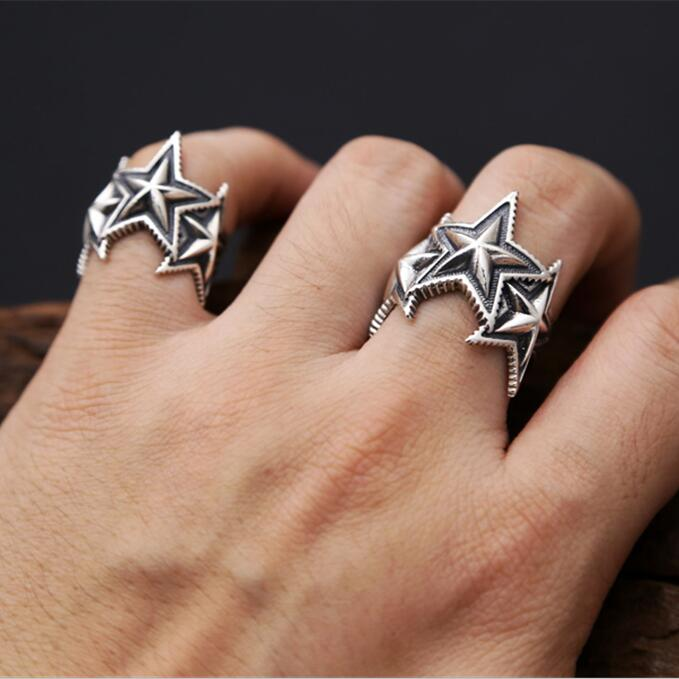 Fashion 2017 Solid Silver 925 Ring Men Women Superstar Cuff Band Simple Pentangle Star Ring 100