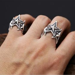 Fashion 2017 solid silver 925 ring men women superstar cuff band simple pentangle star ring 100.jpg 250x250