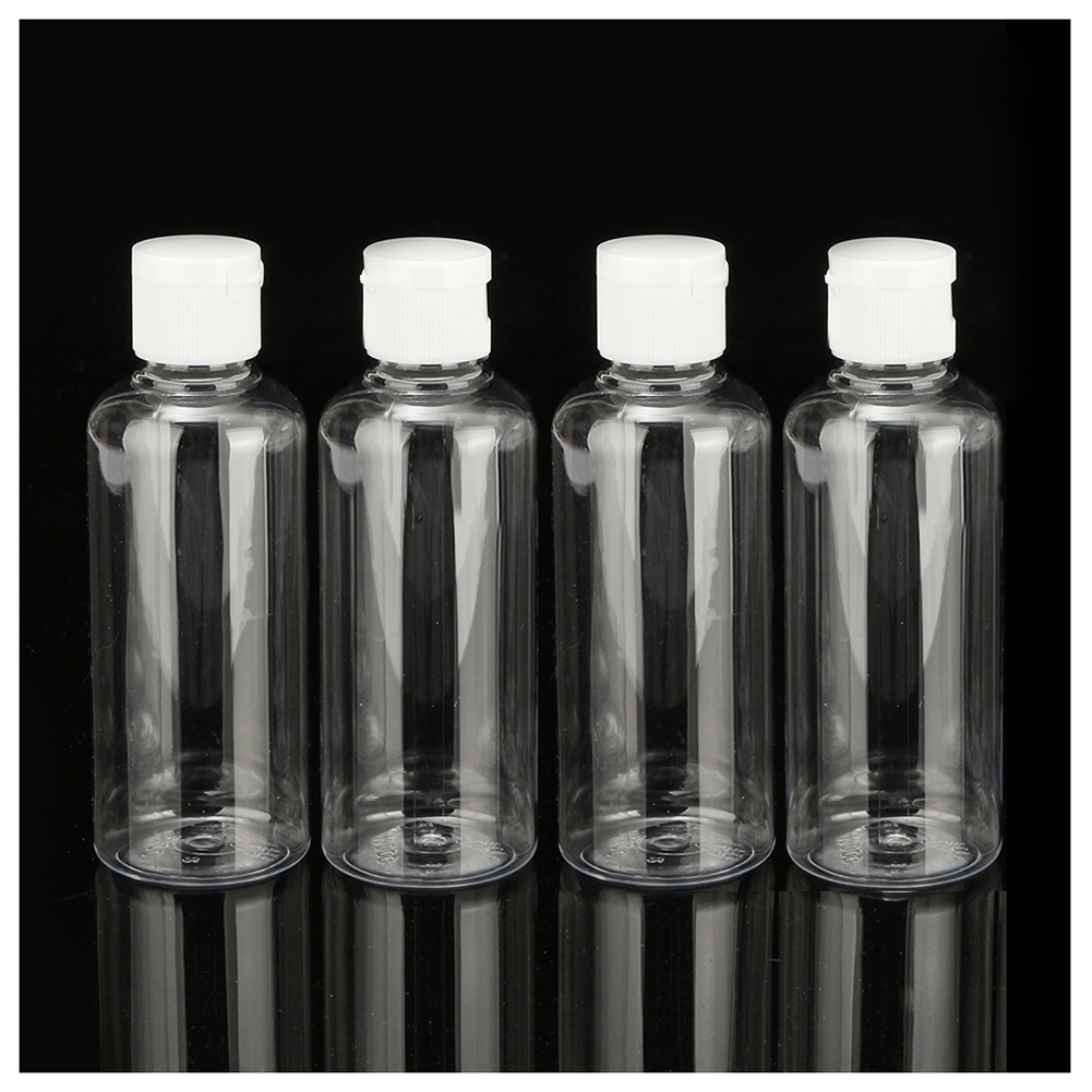 HTHL-4 x 100ml Plastic Clear Flip Bottles Travel Shampoo Lotion Cosmetic Container цена