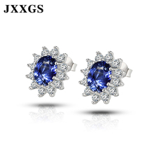 JXXGS Stud Earrings For Women 925 Silver Jewelry Flower With Sapphire Stone Fashion 2019