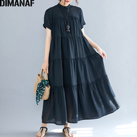 DIMANAF Plus Size Women Dress Big Size Female Vestido Summer Sundress Loose Lady Elegant Long Dress Pleated Spliced 5XL 6XL 2019
