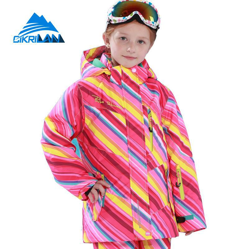 Winter Children Cotton Padded Waterproof Windproof Snow Snowboard Ski Jacket Girls Kids Outdoor Sport Snowboarding Skiing Coat marsnow children ski jacket boys girls warm winter skiing snowboard jackets child windproof waterproof outdoor kids snow coats