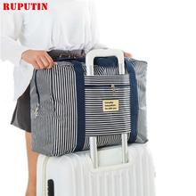 RUPUTIN damskie torby podróżne podróżne podróżne o dużej pojemności wodoodporna torebka męska kostki do pakowania walizka na kółkach tanie tanio Oxford zipper Wszechstronny 30cm Striped 0 45kg F001 Miękkie 60cm Na co dzień WOMEN 50cm Podróż torba Blue point Blue stripe Red point Red stripe