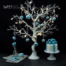 Di cerimonia nuziale bianco resina Simulato albero con macrons pendenti per bar/negozio di della finestra Albero Desiderano