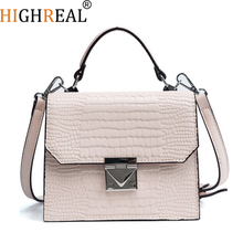 HIGHREAL Fashion Female Square Bag New Quality PU Leather Women Bag Crocodile Pattern Tote Bag Lock Shoulder Messenger Bags