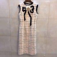 Женское платье 2019 высокое качество дизайнерское клетчатое платье женское зима осень винтажное клетчатое платье женское элегантное с кругл