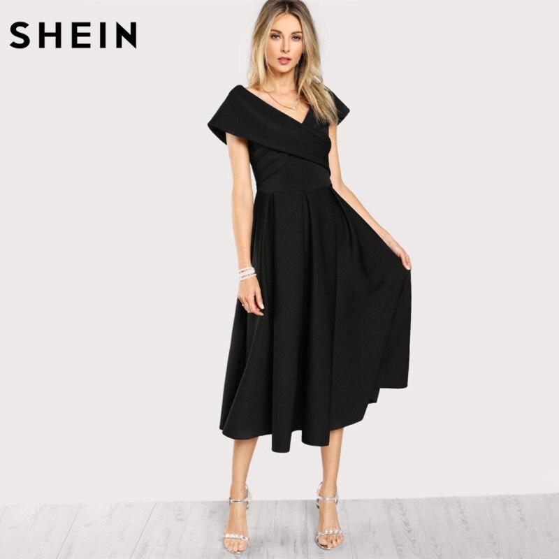SHEIN Box Pleated Cross Wrap Bardot Dress Womens Black V Neck Short Sleeve A Line Dress Zip Back Elegant Party Dress