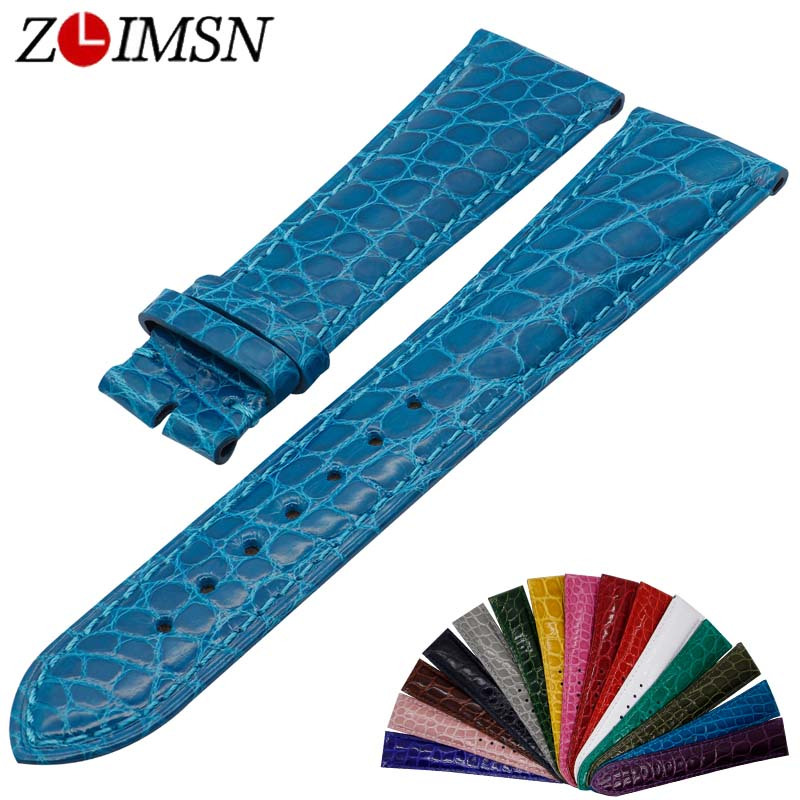 ZLIMSN Crocodile leather watch band 18mm 20mm 22mm men women luxury crocodile leather strap 15 colors optional Customizable size hot sale genuine leather watchband watch strap with crocodile pattern different colors in size 18mm 20mm 22mm