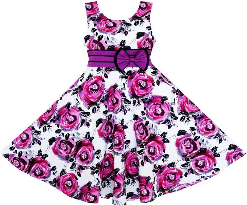 Sunny Fashion Girls Dress Princess Rose Flower Bow Tie Party Summer Cotton 2017 Summer Wedding Dresses