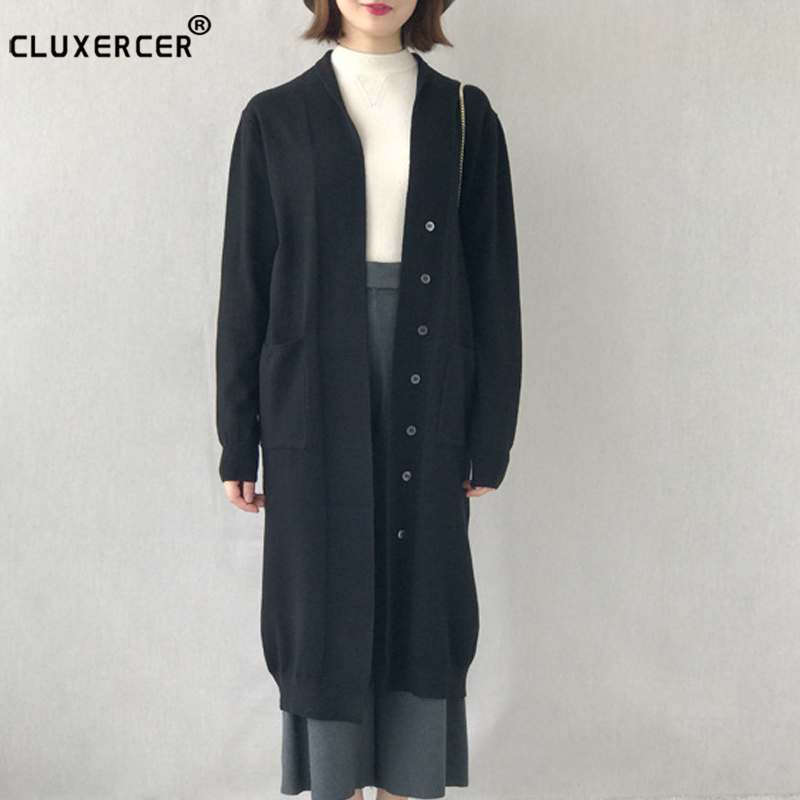 Hight Quality Casual Long Knitted Cardigan Autumn Korean Women Loose Solid Color Pocket Design Sweater Jacket