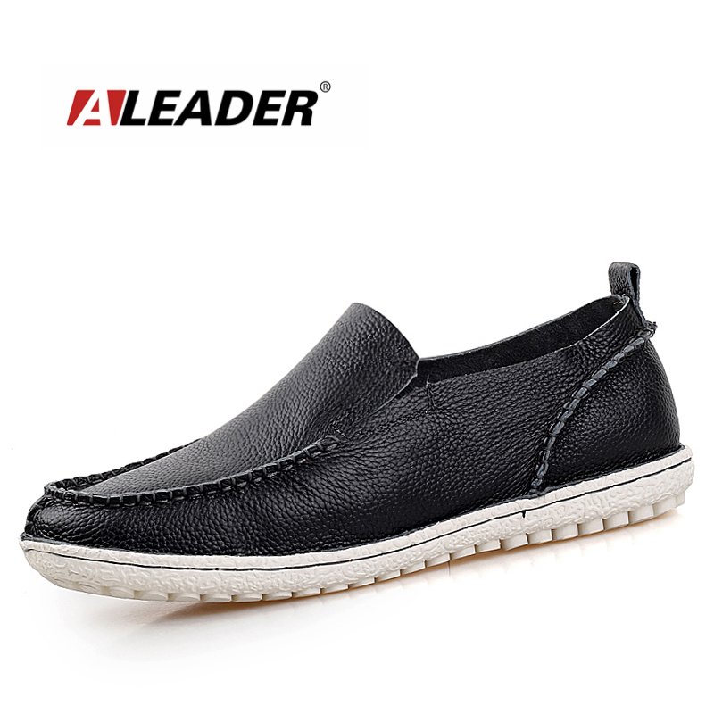 Aleader Brand Fashion Genuine Leather Shoes Men Flats Soft Designer Men Loafers Slip on Casual Moccasins Driving Shoes For Men handmade genuine leather men s flats casual haap sun brand men loafers comfortable soft driving shoes slip on leather moccasins