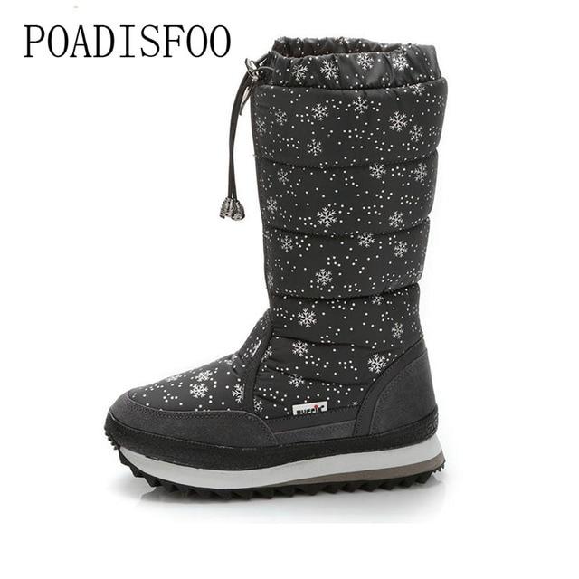POADISFOO  35-43 Women Boots Plush Warm Snow Boots cotton Winter Boots Waterproof  Snow Botas zipper up DOWN  boot .XZ-05