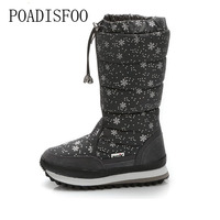 POADISFOO 35 43 Women Boots Plush Warm Snow Boots Ladies Winter Ankle Boots Waterproof Snow Botas