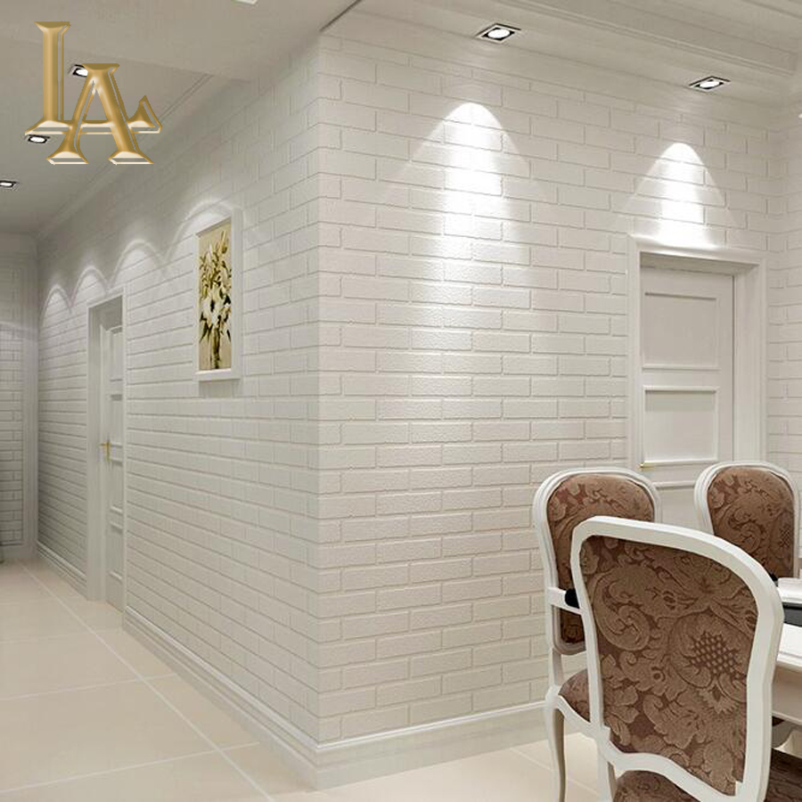 Grey White Deep Embossed 3D Brick Wallpaper Roll For Living