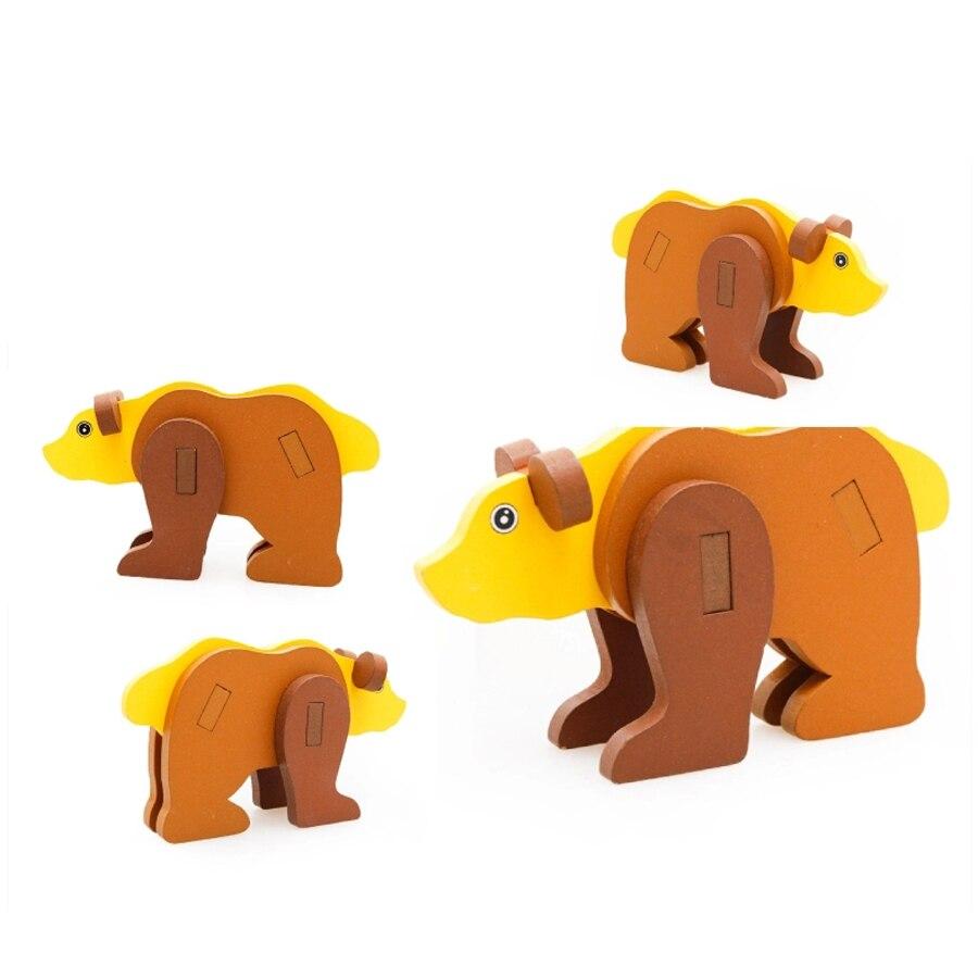 3D деревянные мультфильм животных игрушка-головоломка Дети Малыш Дети Игрушечные лошадки образования Монтессори головоломки IQ Буа деревян...