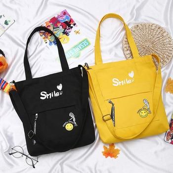Bolso de mano para mujer 2019 con estampado de letras, bolso de lona, bolsa de viaje de algodón, bolsas de hombro reutilizables Eco para mujer, bolsas d