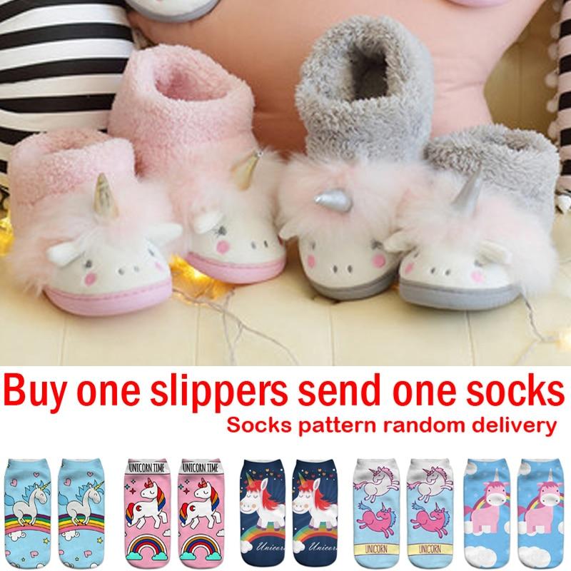 53eedc1076129 Купить Детские тапочки для девочек ботинки Единорог детские домашние меховые  сапоги для мальчиков детские зимние теплые тапочки детские Единорог..