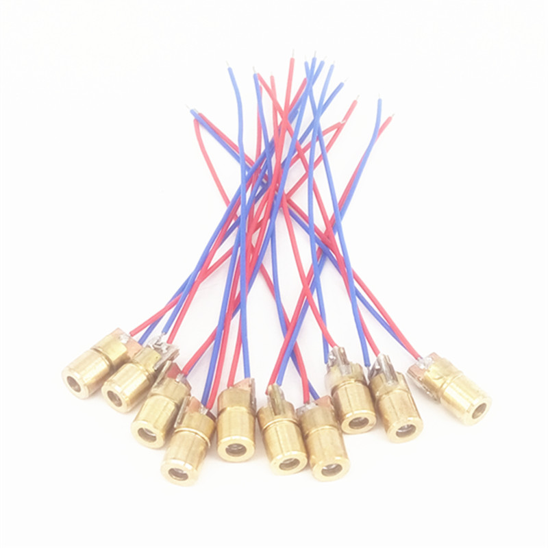 10pcs 5V Laser Head Laser Diode Point Copper Semiconductor Laser Tube 6mm Outer Diameter