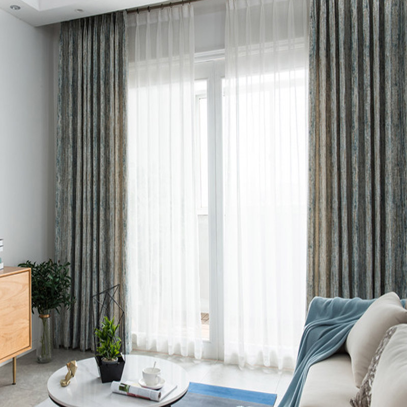 Chenille Jacquard Curtains for Living Room Retro Shiny Luxury Drapes for Bedroom High Grade Window Treatments Single Panel in Curtains from Home Garden