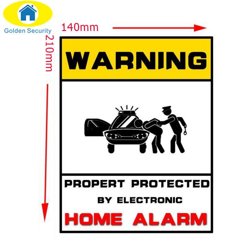 Golden Security Security Signs-Window Stickers HOME  Surveillance System CCTV Alert Sign For IP Camera Alarm System new safurance 10pcs lot waterproof sunscreen pvc home cctv video surveillance security camera alarm sticker warning decal signs