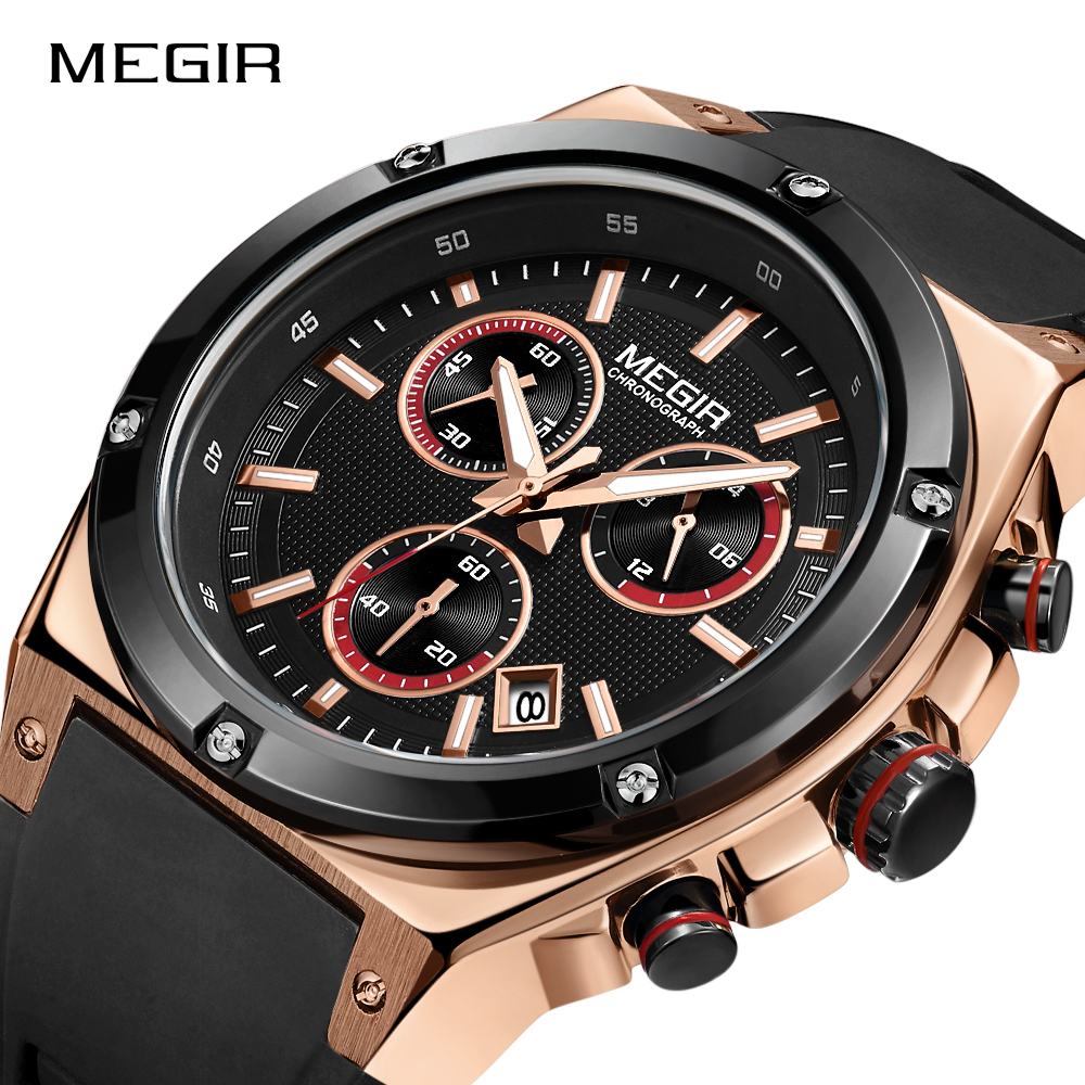 MEGIR Chronograph Men Watch Relogio Masculino Black Silicon Sport Quartz Watch Clock Men Creative Army Military Wrist Watches цена