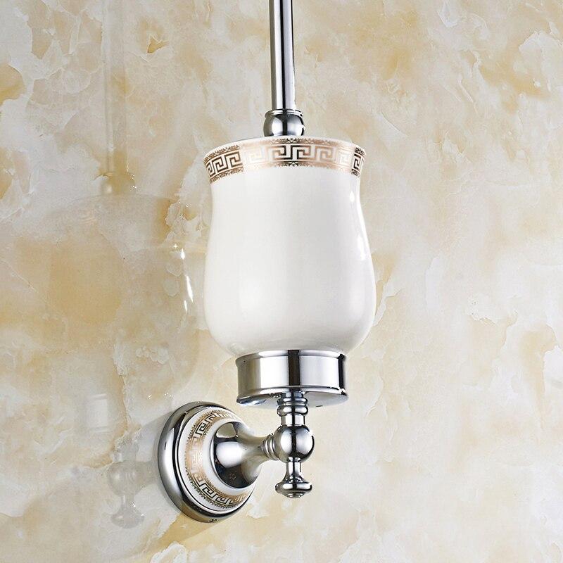 US $36.54 20% OFF|Antik Silber Messing Keramik Wc bürstenhalter Vintage  Silber Chrom Wc bürste Rack Montage Bad accessoires V 6-in WC-Bürstenhalter  ...