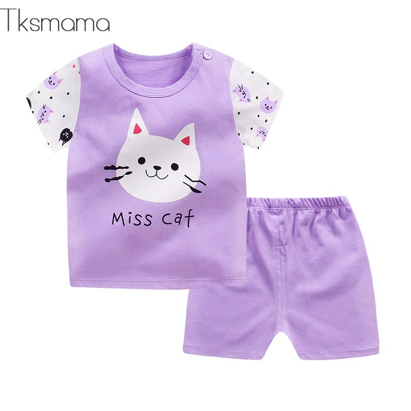 Beautiful Cartoon Purple Cat Clothes Oufits For Child Lady Summer time Vogue Fashion Brief Sleeves+Shorts Set Clothes Units, Low cost Clothes Units, Beautiful Cartoon Purple Cat Clothes Oufits For...