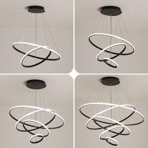 Image 2 - Plafonnier suspendu au design moderne, couleur café, blanc/noir, luminaire dintérieur, idéal pour un salon, LED, AC85 265V